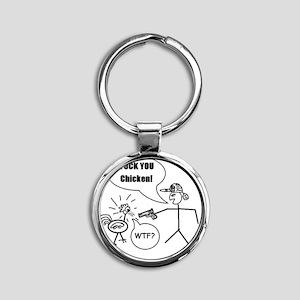 Fuck you chicken Round Keychain