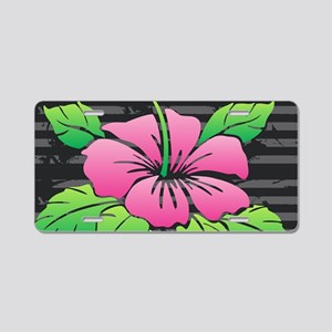Hibiscus on Black Aluminum License Plate