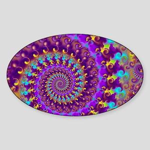 Psychedelic Purple Fractal Art Sticker (Oval)
