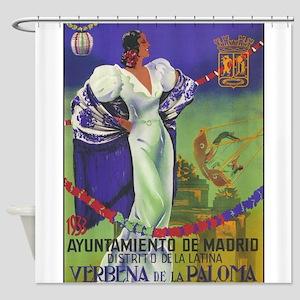 Vintage Spanish Festival Travel Poster Shower Curt
