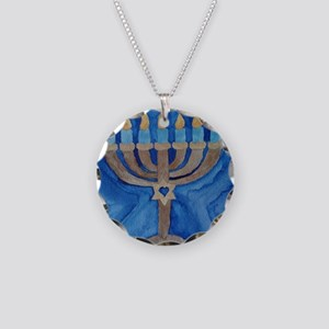HANUKKAH MENORAH Necklace Circle Charm