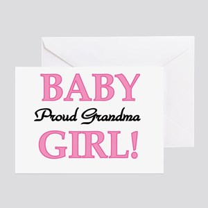 Baby Girl Proud Grandma Greeting Cards (Package of