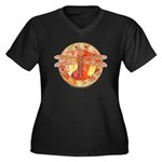 Hot Celtic Dragonfly Women's Plus Size V-Neck Dark