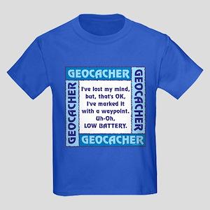 Blue Geocacher Lost Mind Kids Dark T-Shirt