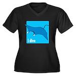 i dive manta Women's Plus Size V-Neck Dark T-Shirt