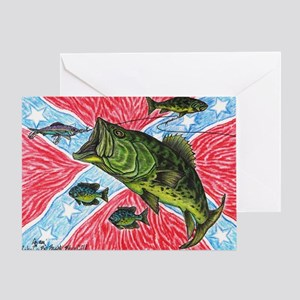 Southern Rebel Bass Fishin Greeting Card