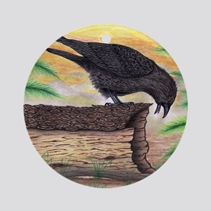 The Curious Crow Original Drawing Round Ornament