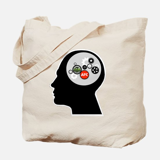 AFC/HUB White Gear Head Outline Logo Tote Bag