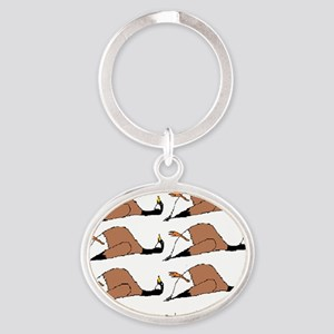 Six geese a-laying... Oval Keychain