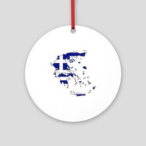 Greek Flag Map Round Ornament