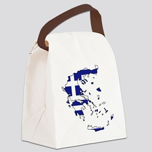 Greek Flag Map Canvas Lunch Bag