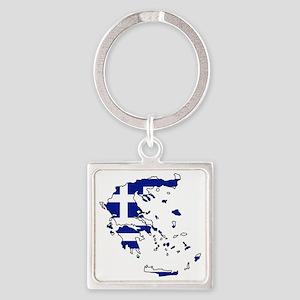 Greek Flag Map Square Keychain