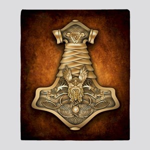 Gold Thors Hammer Throw Blanket
