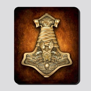 Gold Thors Hammer Mousepad