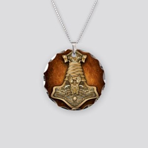 Gold Thors Hammer Necklace Circle Charm