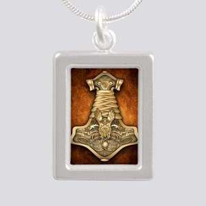 Gold Thors Hammer Silver Portrait Necklace