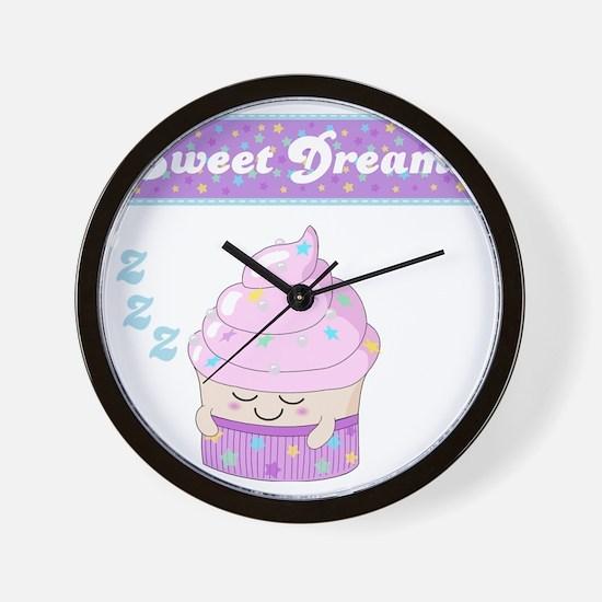 Sweet Dreams Sleeping cupcake Wall Clock