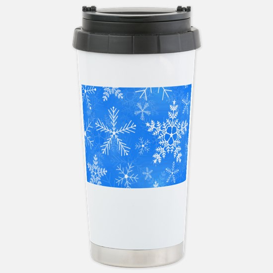 Blue and White Snowflak Stainless Steel Travel Mug