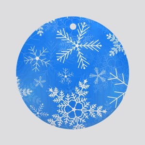 Blue and White Snowflake Pattern Round Ornament