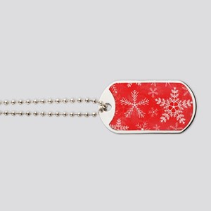 Red and White Snowflake Pattern Dog Tags