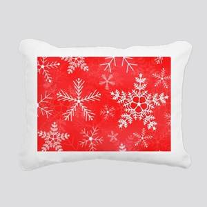 Red and White Snowflake  Rectangular Canvas Pillow
