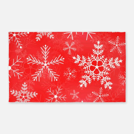 Red and White Snowflake Pattern 3'x5' Area Rug
