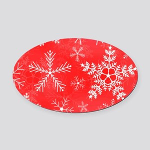Red and White Snowflake Pattern Oval Car Magnet