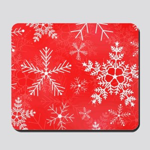 Red and White Snowflake Pattern Mousepad