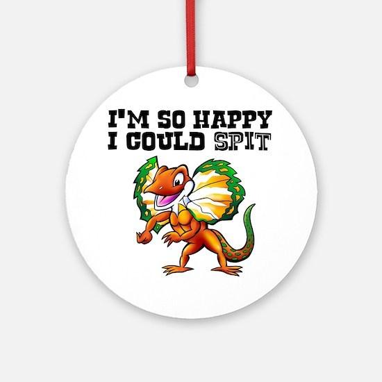 So Happy Spitter Dinosaur Round Ornament