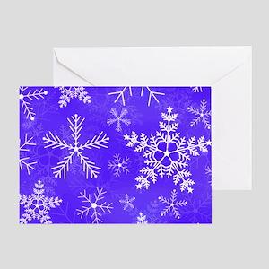 Purple and White Snowflake Pattern Greeting Card