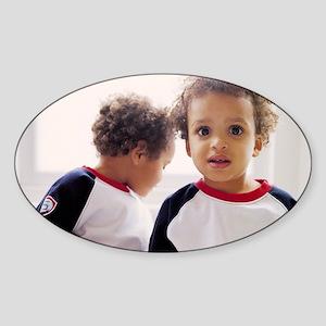 Identical twin boys Sticker (Oval)