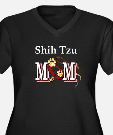 Shih Tzu Mom Women's Plus Size V-Neck Dark T-Shirt
