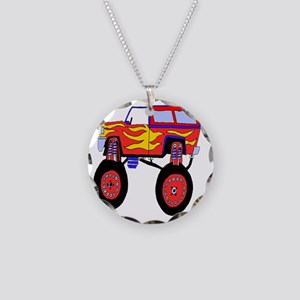 Monster Truck Necklace Circle Charm
