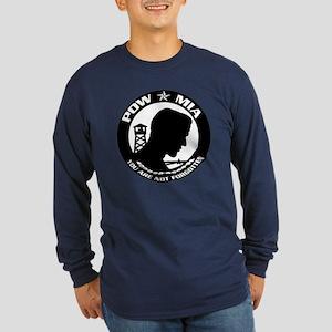Round POW-MIA Symbol Long Sleeve Dark T-Shirt