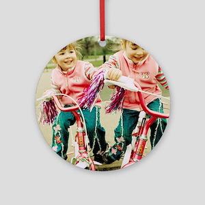 Identical twin girls Round Ornament