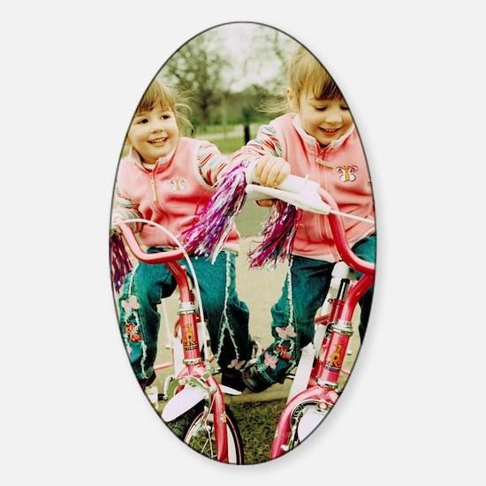 Identical twin girls Sticker (Oval)
