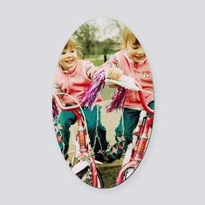 Identical twin girls Oval Car Magnet