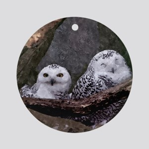 Two Owls Round Ornament