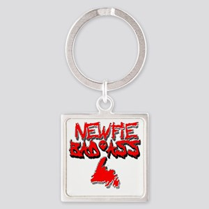 Newfie Bad Ass Square Keychain