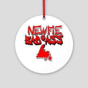 Newfie Bad Ass Round Ornament