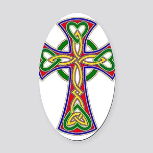 Primary Celtic Cross Oval Car Magnet