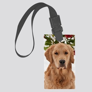 Christmas Golden Retriever Large Luggage Tag