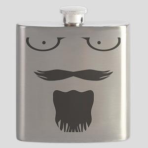 Rocker moustache mustache Flask