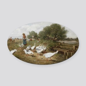 Minding the Flock Oval Car Magnet