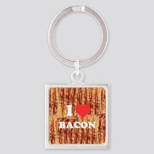 I love Bacon Square Keychain