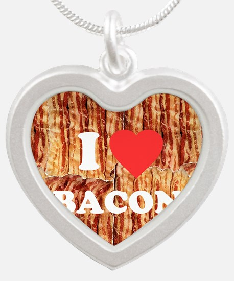 I love Bacon Silver Heart Necklace