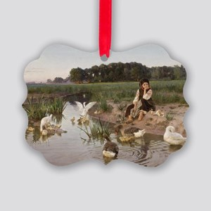 Daydreaming with the Geese Picture Ornament