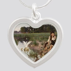 Daydreaming with the Geese Silver Heart Necklace