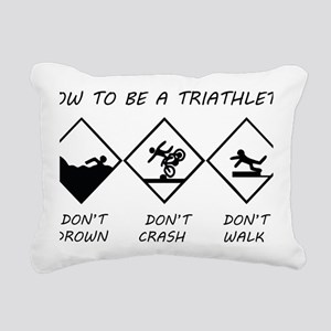 How To Be a Triathlete Rectangular Canvas Pillow