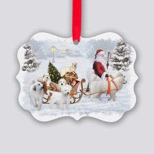 Great Pyrenees and Santa Picture Ornament